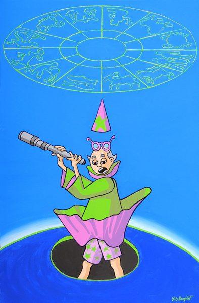 L'Astrologue qui se laisse tomber dans un puits - huile sur toile - 70 x 50 cm - livre deuxième, fable 13