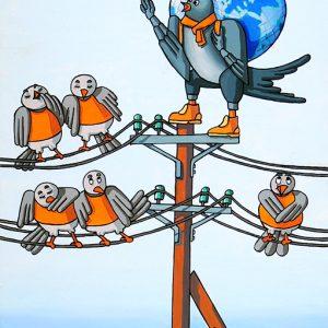 L'Hirondelle et les petits Oiseaux - huile sur toile - 70 x 50 cm - livre premier, fable 8