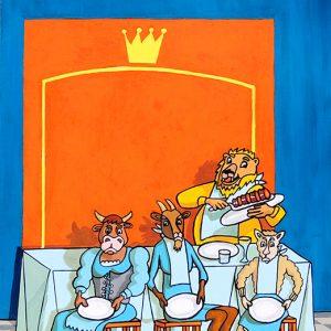 La Génisse, la Chèvre et la Brebis en société avec le Lion - huile sur toile - 70 x 50 cm - livre premier, fable 6