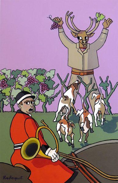 Le Cerf et la Vigne - huile sur toile - 70 x 50 cm - livre cinquième, fable 15