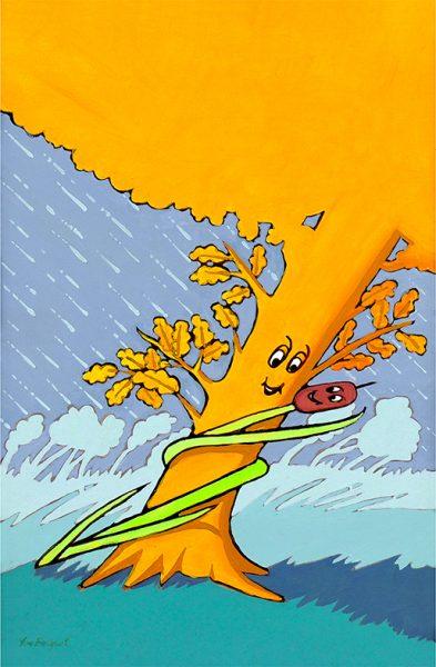 Le Chêne et le Roseau - huile sur toile - 70 x 50 cm - livre premier, fable 22