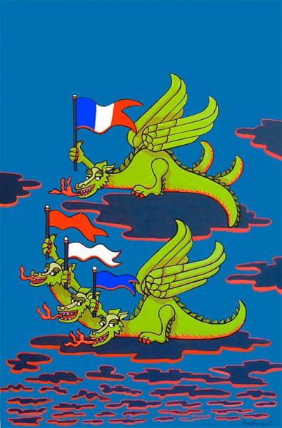 Le Dragon à plusieurs têtes et le Dragon à plusieurs queues - huile sur toile - 70 x 50 cm - livre premier, fable 12