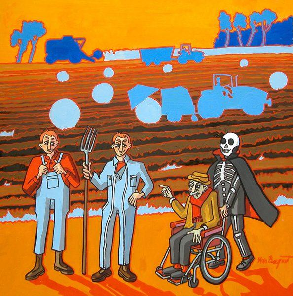 Le Laboureur et ses Enfants- huile sur toile - 60 X 60 cm - livre cinquième, fable 9
