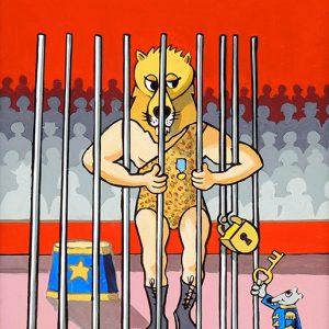 Le Lion et le Rat - huile sur toile - 70 x 50 cm - livre deuxième, fable 11
