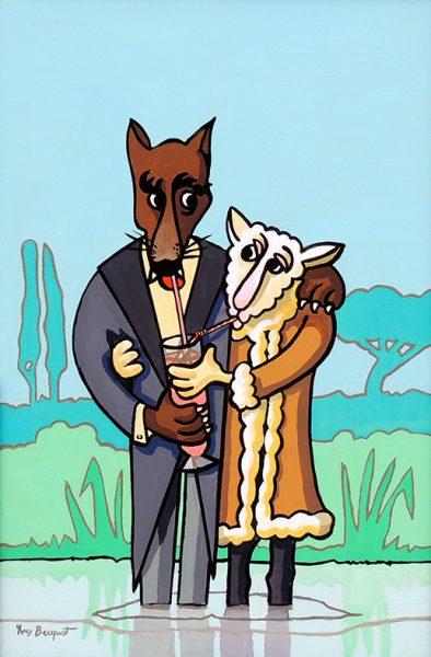 Le  Loup et l'Agneau - huile sur toile - 70 x 50 cm - livre premier, fable 10