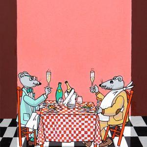 Le Rat de ville et le Rat des champs - huile sur toile - 70x50cm - livre premier, fable 9