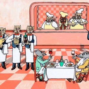 Le Rat de ville et le Rat des champs - huile sur toile - 80 x 60 cm - livre premier, fable 9