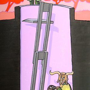 Le Renard et le Bouc - huile sur toile - 100 x 50 cm - livre troisième, fable 5