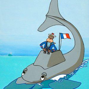 Le Singe et le Dauphin - huile sur toile - 70 x 50 cm - livre quatrième, fable 7