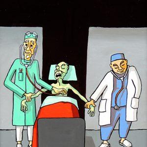 Les Médecins- huile sur toile - 70 x 50 cm - livre cinquième, fable 12