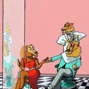 Le Lion amoureux - huile sur toile - 70 x 50 cm - livre quatrième, fable 1
