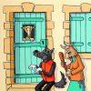 Le Loup, la Chèvre et le Chevreau- huile sur toile - 70 x 50 cm - livre quatrième, fable 15