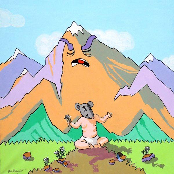 La Montagne qui accouche- huile sur toile - 60 X 60 cm- livre cinquième, fable 10