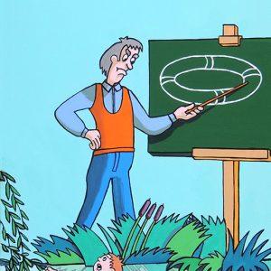 L'Enfant et le Maître d'école - huile sur toile - 70 x 50 cm - livre premier, fable 19