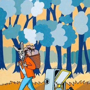 Les deux Mulets - huile sur toile - 70x50cm - livre premier, fable 4