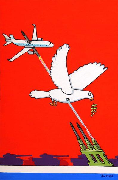 L'Oiseau blessé d'une flèche - huile sur toile - 70 x 50 cm - livre deuxième, fable 6