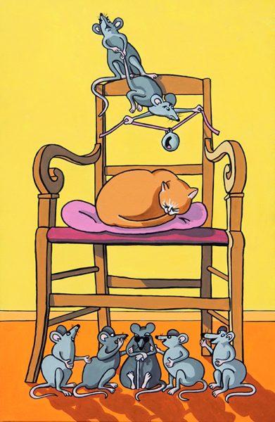 Le Conseil tenu par les Rats - huile sur toile - 70 x 50 cm - livre deuxième, fable 2