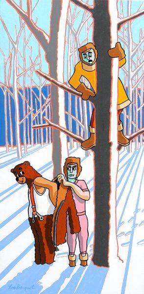L'Ours et les deux Compagnons - huile sur toile - 100 x 50 cm - livre cinquième, fable 20