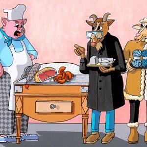 Le Cochon, la Chèvre et le Mouton - huile sur toile - 80 x 60 cm - livre huitième, fable 12