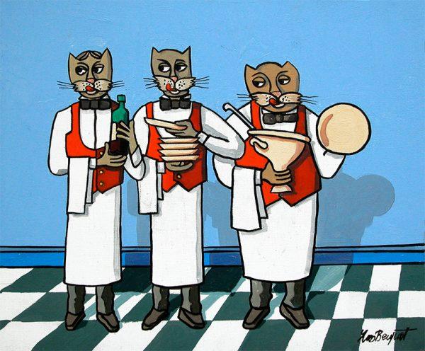 La brigade des chats - huile sur toile - 50 x 40 cm - extrait du rat des villes et le rat des champs-