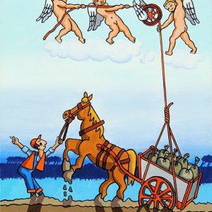 Le Chartier embourbé- huile sur toile - 70 x 50 cm - livre sixième, fable 18