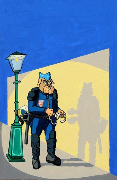 Le Chien qui lâche sa proie pour l'ombre - huile sur toile - 70 x 50 cm - livre sixième, fable 17