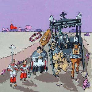 Le Curé et le Mort - huile sur toile - 60 X 60 cm - livre septième, fable 11