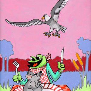 La Grenouille et le Rat - huile sur toile - 70 x 50 cm - livre quatrième, fable 11