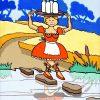 La Laitière et le Pot au lait - huile sur toile - 70 x 50 cm - livre septième, fable 9