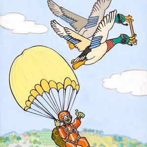 La Tortue et les deux Canards - huile sur toile -70 x 50 cm - livre dixième, fable 2