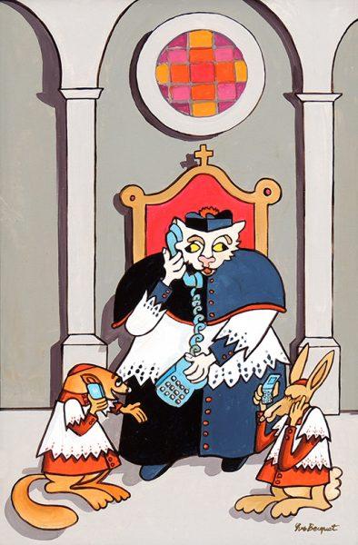 Le Chat, la Belette et le petit Lapin - huile sur toile - 70 x 50 cm - livre septième, fable 15
