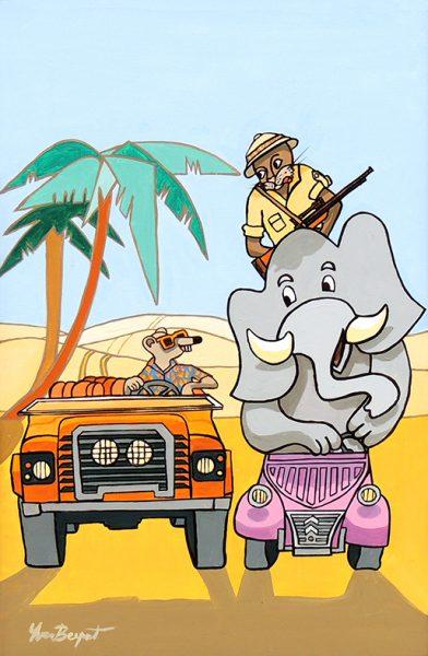 Le Rat et l'Eléphant - huile sur toile - 70 x 50 cm - livre huitième, fable 15