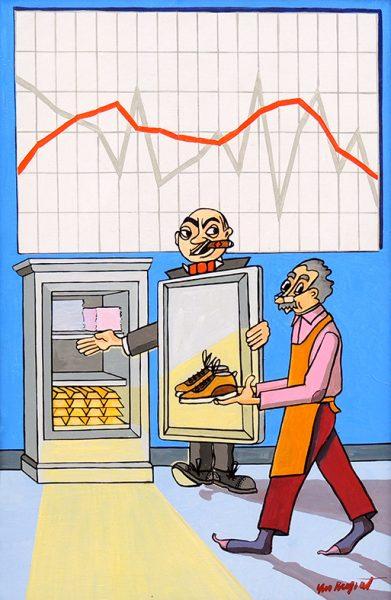 Le Savetier et le Financier - huile sur toile - 70 x 50 cm - livre huitième, fable 2