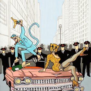 Le Singe et le Léopard - huile sur toile - 70 x 50 cm - livre neuvième, fable 3