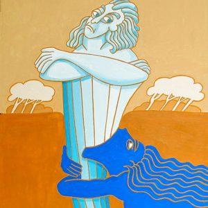 Le Torrent et la Rivière - huile sur toile - 70 x 50 cm - livre huitième, fable 23