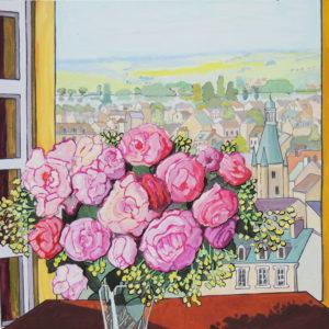 Le bouquet à la fenêtre 60 x 50 cm